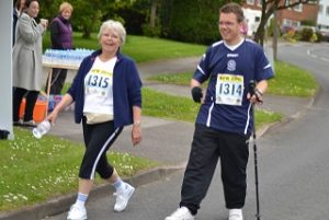 a picture of steve and his mum during his race