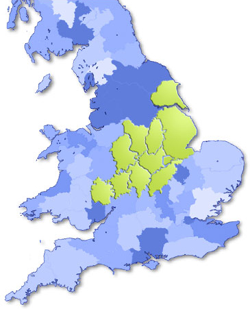 Map of uk showing counties which AKA cover are marked in green.