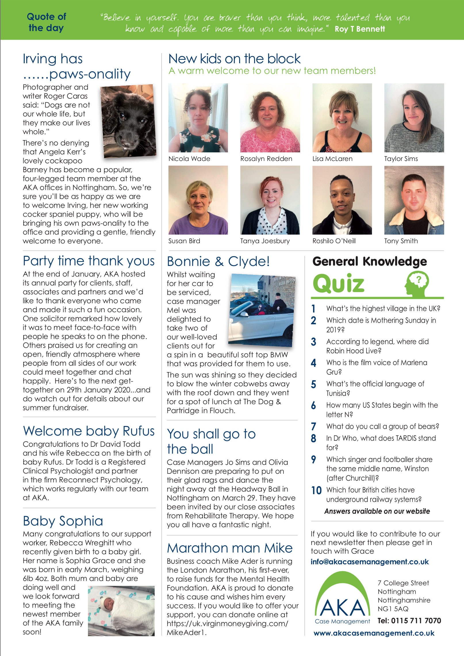 AKA Newsletter March 2019 page 2