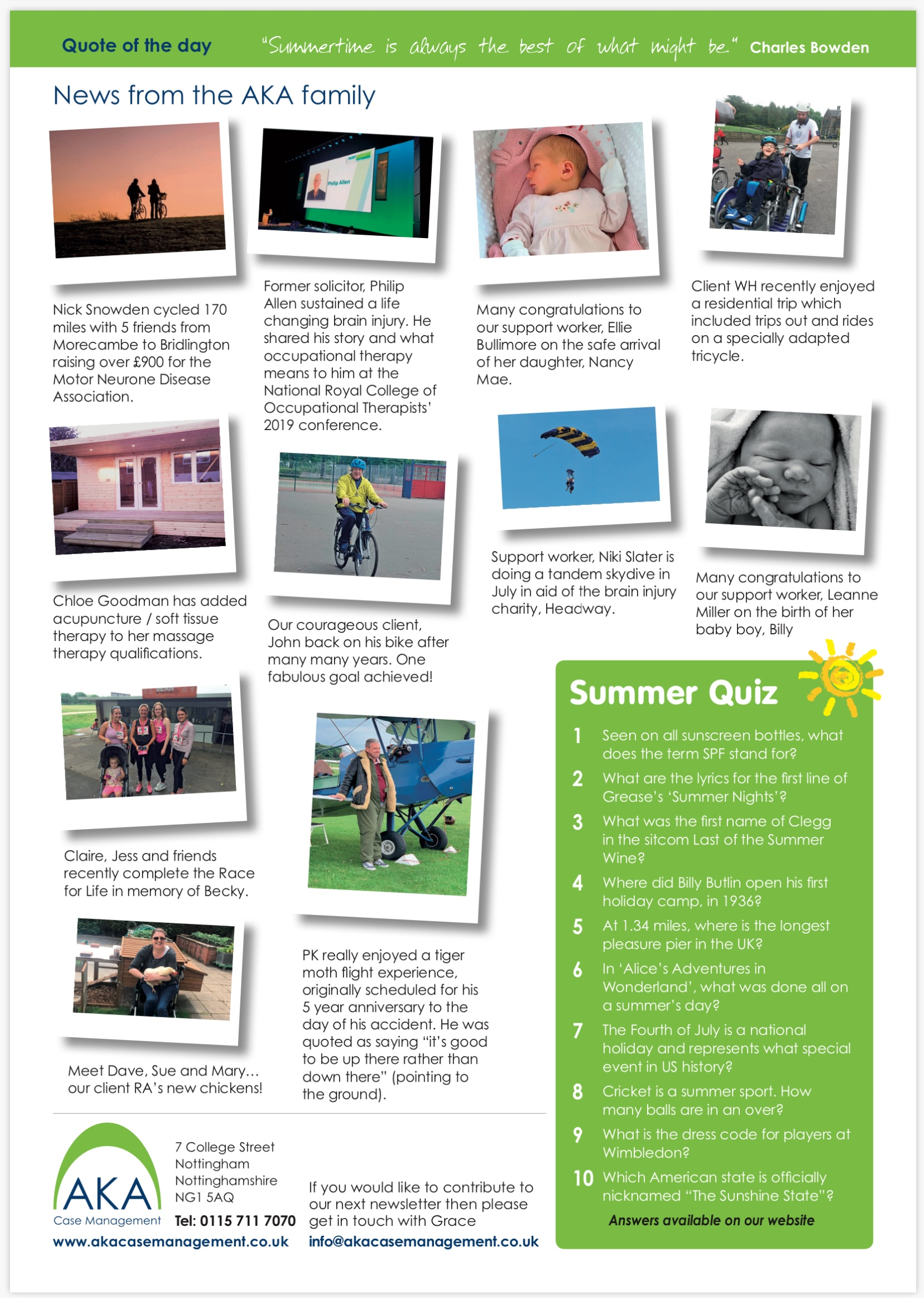 Page 2 of AKA Case Management July 2019 newsletter