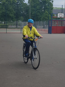 AKA client back on his bike