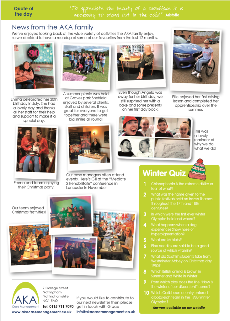 AKA Case Management newsletter - Winter February 2020 page 2